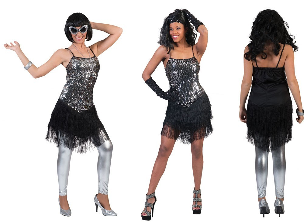 Silber Flapper Lady Damenkostüm Mit Schwarzen Fransen | Party.de