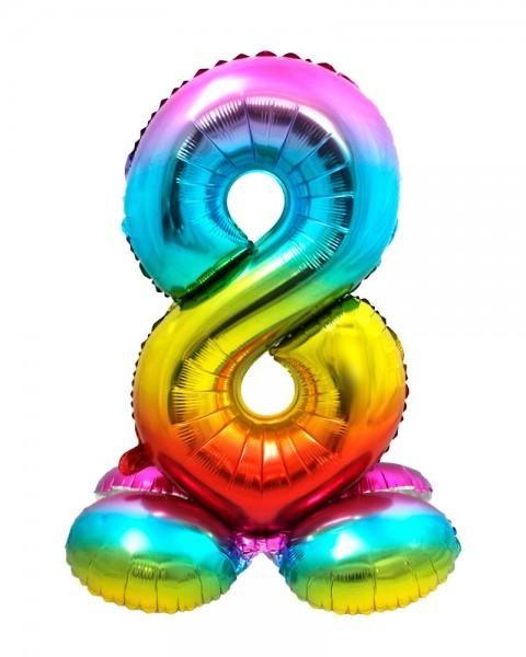 AirLoonz Regenbogen Zahl 8 Ballon 81cm