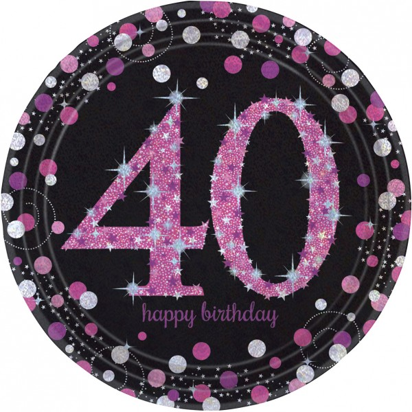 8 Celebration 40th Birthday Piatto in carta rosa 23cm