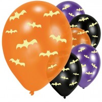6 nachtleuchtende Fledermaus Latexballons 27cm