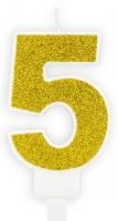 Goldschimmer Tortenkerze Zahl 5