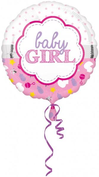 Ballon en aluminium à pois bébé fille