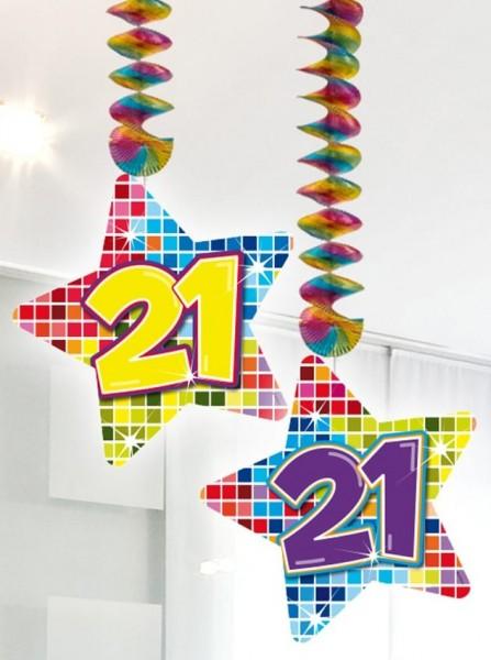 2 grucce a spirale con stelle 21 ° compleanno