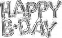 Ballon aluminium lettrage Happy B-Day argent 76x48cm