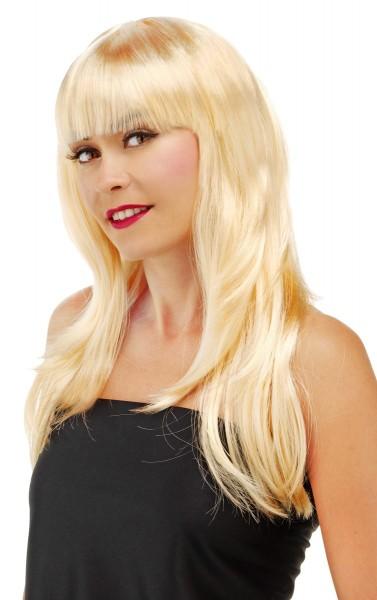 Tiffany langharige pruik met pony blond