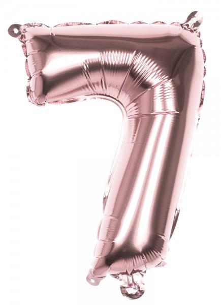 Ballon aluminium numéro 7 or rose 36cm