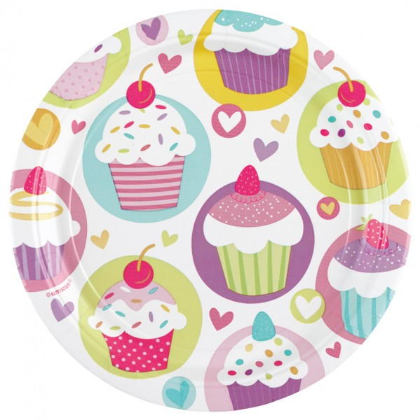 8 Cupcake Party Pappteller 18cm