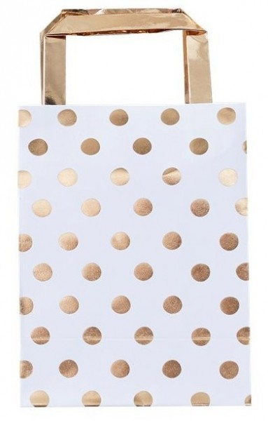 5 gift bags white-gold dotted 26cm