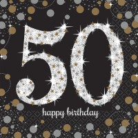 16 Golden 50th Birthday Servietten 33cm