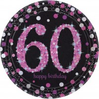 8 Pink 60th Birthday Pappteller 23cm