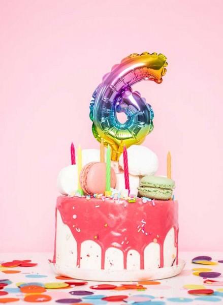 Numéro de ballon décoration gâteau arc-en-ciel 0