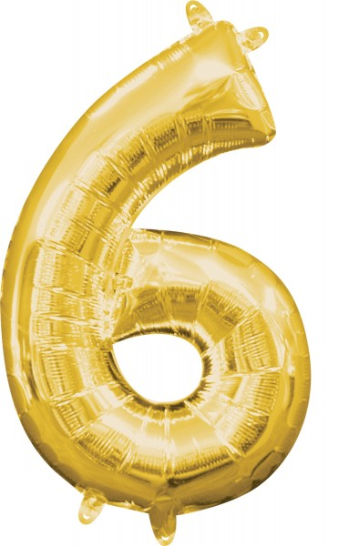 Mini folie ballon nummer 6 guld 35cm