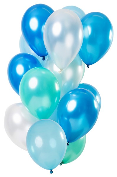 15 latex balloons azure blue metallic