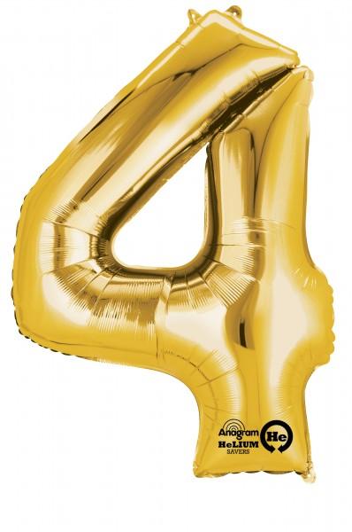 Zahlenballon 4 gold 88cm