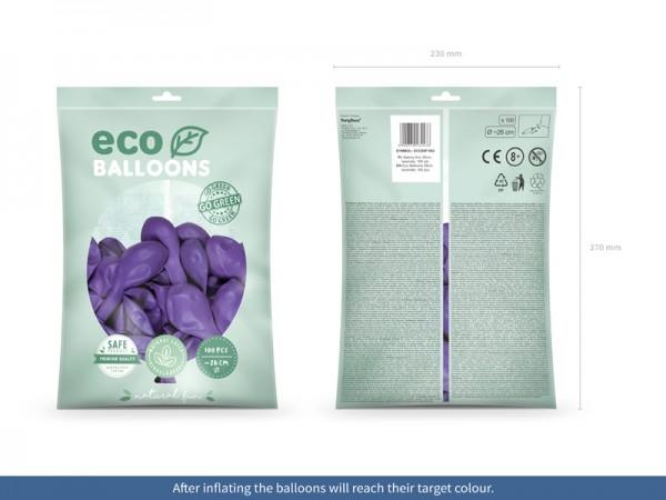 100 Eco Pastell Ballons violett 26cm