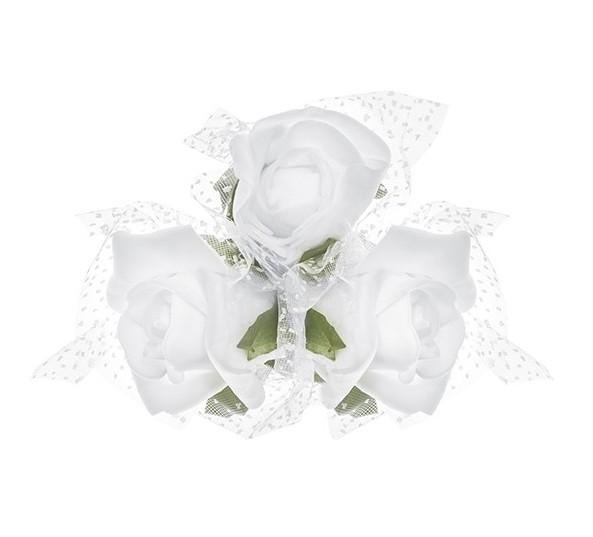 4 Rosengestecke mit weißen Rosen
