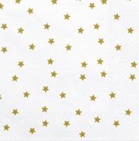 20 Weiße Goldsternchen Servietten 33cm
