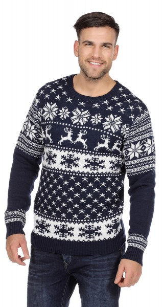 Blue reindeer sweater for men