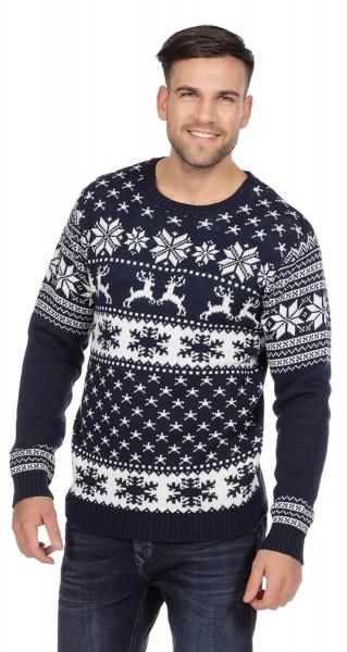 Niebieski sweter męski renifer