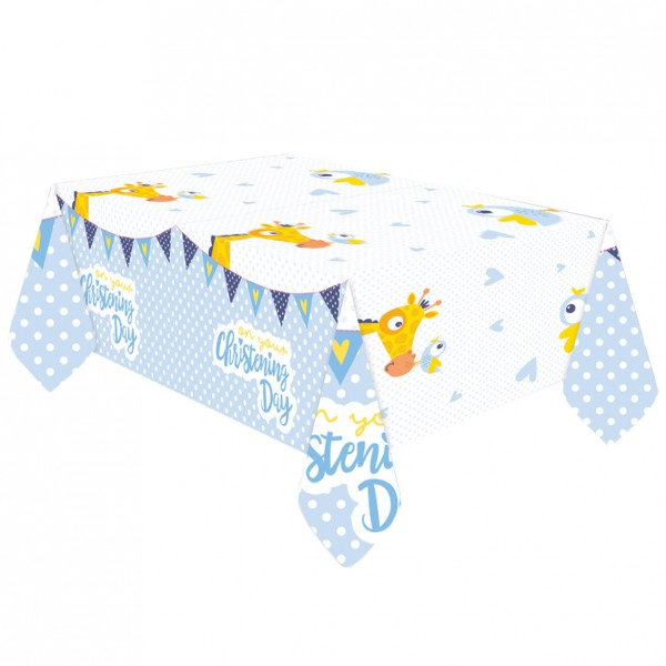 Christening Day tablecloth blue 1.8 x 1.2m