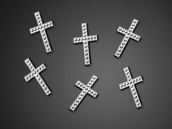 25 Kreuze Streudeko silber 27mm