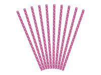 10 gepunktete Papier Strohhalme pink 19,5cm