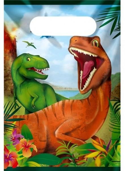 8 sacchetti regalo dinosauri 18,5 x 22,5 cm