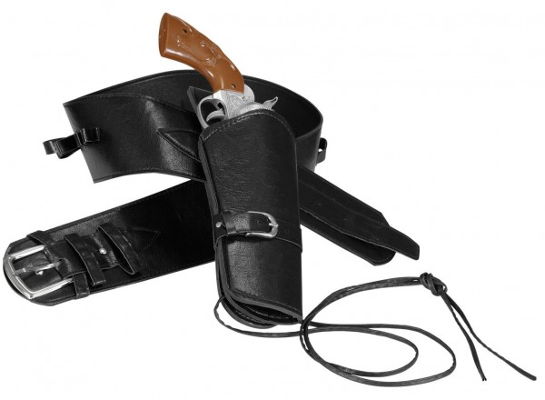 Western belt with pistol holder made of synthetic leather