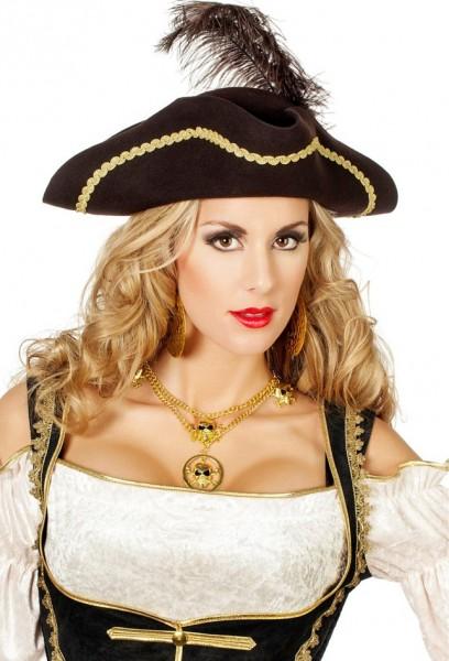 Filz Piratenhut Braun