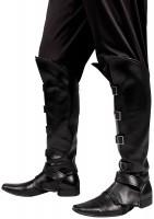 Schwarze Stiefelstulpen Lederoptik