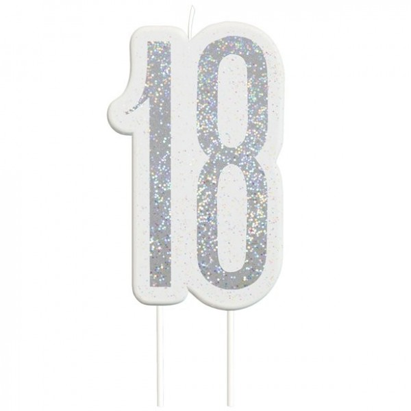 Glittering 18th Birthday cake candle silver