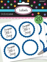 20 labels with sea blue flower border