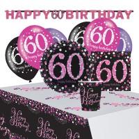 Pink 60th Birthday Deko Set 41-teilig