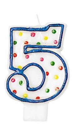 Celebraciones Número Vela 5 Con Puntos De Colores Para Pastel De Cumpleaños