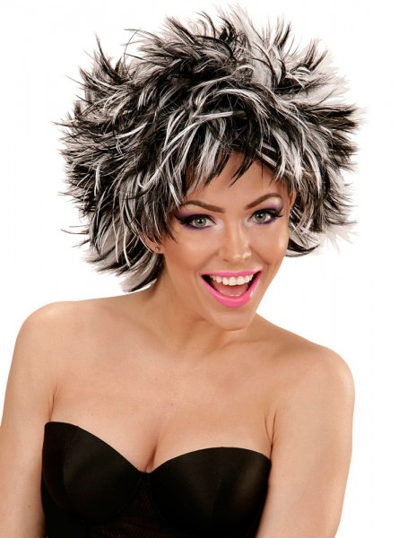 80s wig Stacy black and white