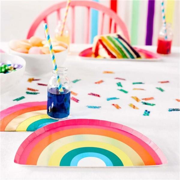 12 Regenbogen Pappteller 25,5cm