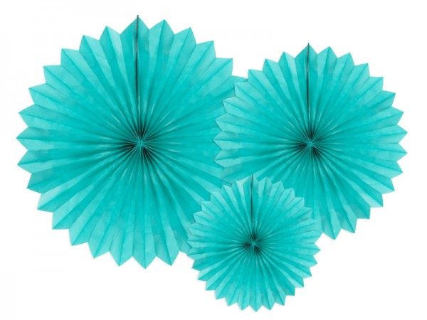 3 rosaces en papier party star turquoise