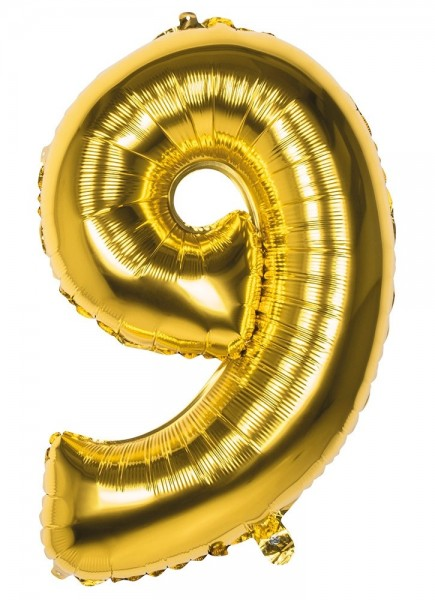 Foil balloon number 9 gold metallic 86cm
