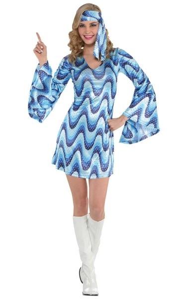 Blaues 70er Jahre Partyfever Kleid