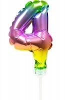 Regenbogen Tortendeko Ballon Zahl 4