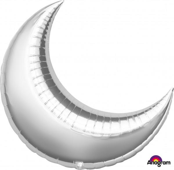 Silber schimmernder Folienballon Luna 89cm
