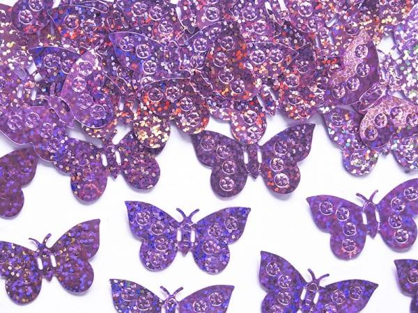 Holograficzny motyl Streudeko w kolorze fioletowym 35 x 21 mm