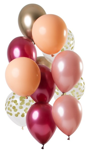 12 Latexballons rubin bunt