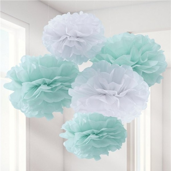 5 pompon turchese menta Oh baby 33cm