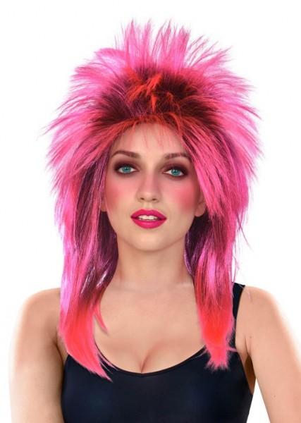 Peluca de estrella de rock de salmonete rosa