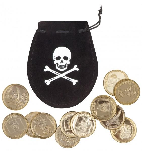 Goldene Piratenparty Totenkopfmünzen