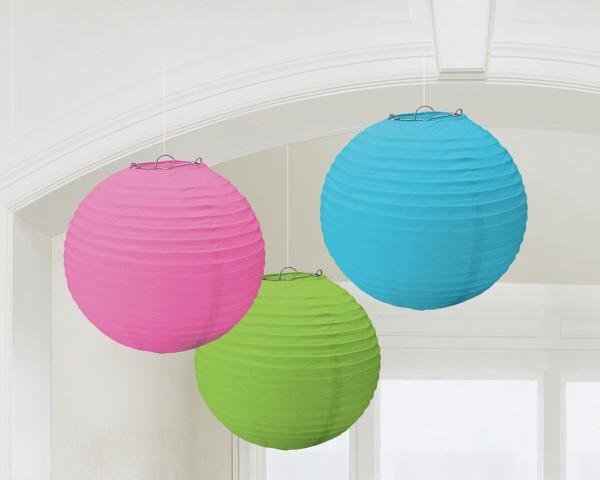 3 linternas chinas Summer Tale, tricolor 20cm
