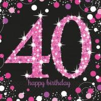 16 Pink Sparkling 40. Birthday Servietten