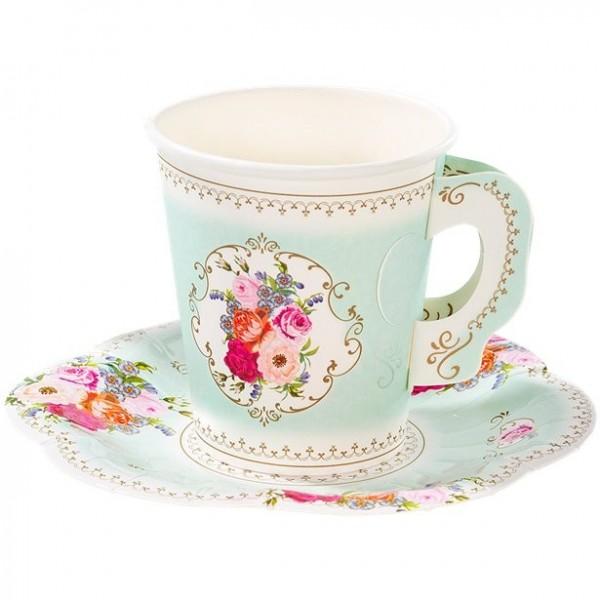 12 Vintage Paper Cups Peonies & Coasters