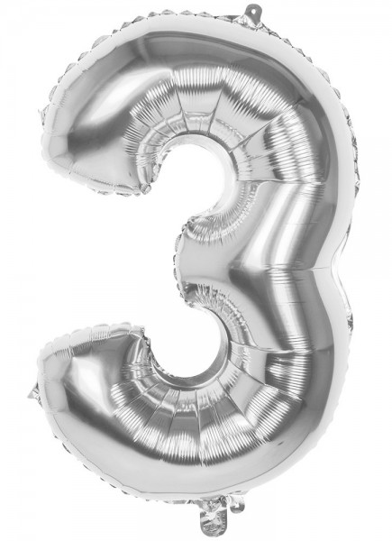 Foil balloon number 3 silver metallic 36cm